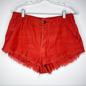 Free People frayed button fly cut off Jean shorts